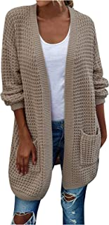 Wszbdoh Damen Strickjacke Casual Cardigan Damen Langarm Strickmantel Strickpullover Herbst Winter Outwear Pulli Knit Sweat...