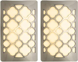 Westek Decorative Plug In Night Light by Amertac - LED Light Cover with Auto Dusk Dawn Sensor - Ideal for the Hallway, Bedroom, Bathroom, Warm Light - Hides Unused Outlet Plugs - Nickel Finish, 2 Pack