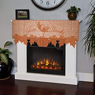 Gotian Pumpkin Lace Table Toppers Fireplace Cloth Pumpkin Maple Leaf Orange Spice Fall Thanksgiving - 59.85''x20.08''