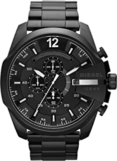 Diesel Men's Mega Chief Quartz Stainless Steel Chronograph Watch, Color: Black (Model: DZ4283)