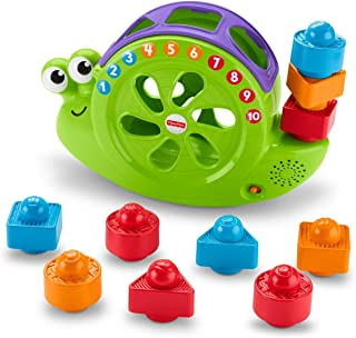 Fisher-Price Rock and Sort Snail Pail, Baby shape-sorting and Block-stacking Toy, Teaching Counting, Colours, Numbers and Shapes, 6 Months Plus