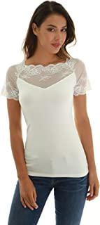 PattyBoutik Women's Scalloped Lace Inset V Neck Top