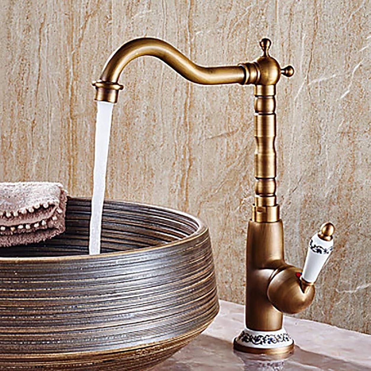 伝導率権限思われるHYH 型の浴室の流しのコックの広いアンティークの銅の単一のハンドル1の蛇口 美しい人生