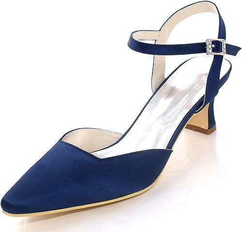 Elegant high zapatos zapatos de Boda de Las mujeres 0723-16 Tacones Bajos Cerrado Dedo del Pie Hebilla de Satén Dama de Honor de Gran Tamaño