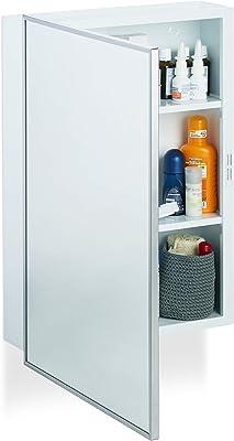 Relaxdays Armoire de Toilette Salle de Bain Placard Meuble Mural 1 Porte Acier 3 Tablettes, 56x40,5x12,5 cm, Blanc, Weiß