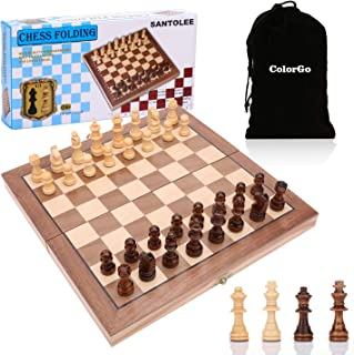 ColorGo Magnetic Wooden Chess Set with Folding Chess Board Portable Travel Game Set for Kids and Adults,Includes Extra Kings Queens