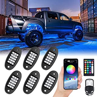 MustWin RGB LED Rock Lights,90 LEDs Multicolor Neon Underglow Waterproof Music Lighting Kit with APP & RF Control for Jeep Off Road Truck Car ATV SUV Motorcycle(6 Pods)-Ship from America