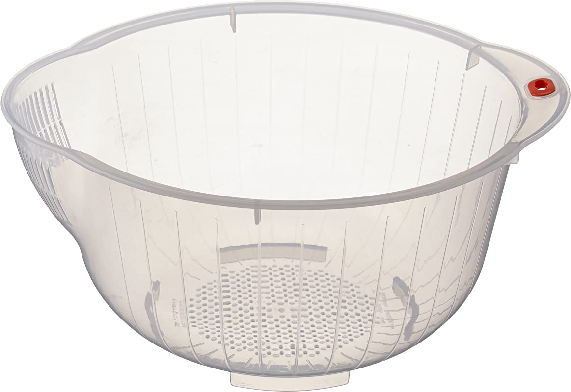 Inomata Japanese Rice Washing Bowl With Side And Bottom Drainers Clear