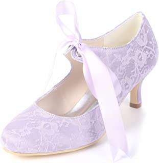 Creativesugar Lady Lace Shoes, Vintage Style Ribbon Tie Bridal Wedding Heels, Closed Rounded Toe 2in Kitten Heel Pumps