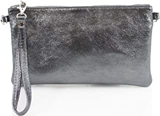 Ladies Women Vera Pelle Metallic Real Leather Clutch Bag
