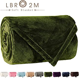 LBRO2M Fleece Bed Blanket Twin Size Super Soft Warm Fuzzy Velvet Plush Throw Lightweight Cozy Couch Twin/Queen/King Size ((65x90 Inch), Green)