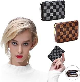 Women's Wallet Checkered Zip Around PU Vegan Leather Rfid Small Wallets for women Clutch Handbag Organizer Multi-purpose Purse 2 Pack Set