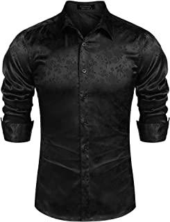 Coofandy Men's Long Sleeve Satin Luxury Printed Silk Dress Shirt Dance Prom Party Button Down Shirts