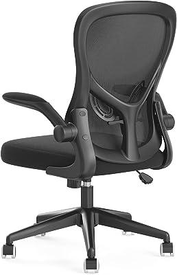 Hbada 椅子 オフィスチェア デスクチェア イス 跳ね上げ式アームレスト ランバーサポート コンパクト 約120度ロッキング 通気性 360度回転 座面昇降 強化ナイロン樹脂ベース 静音PUキャスター