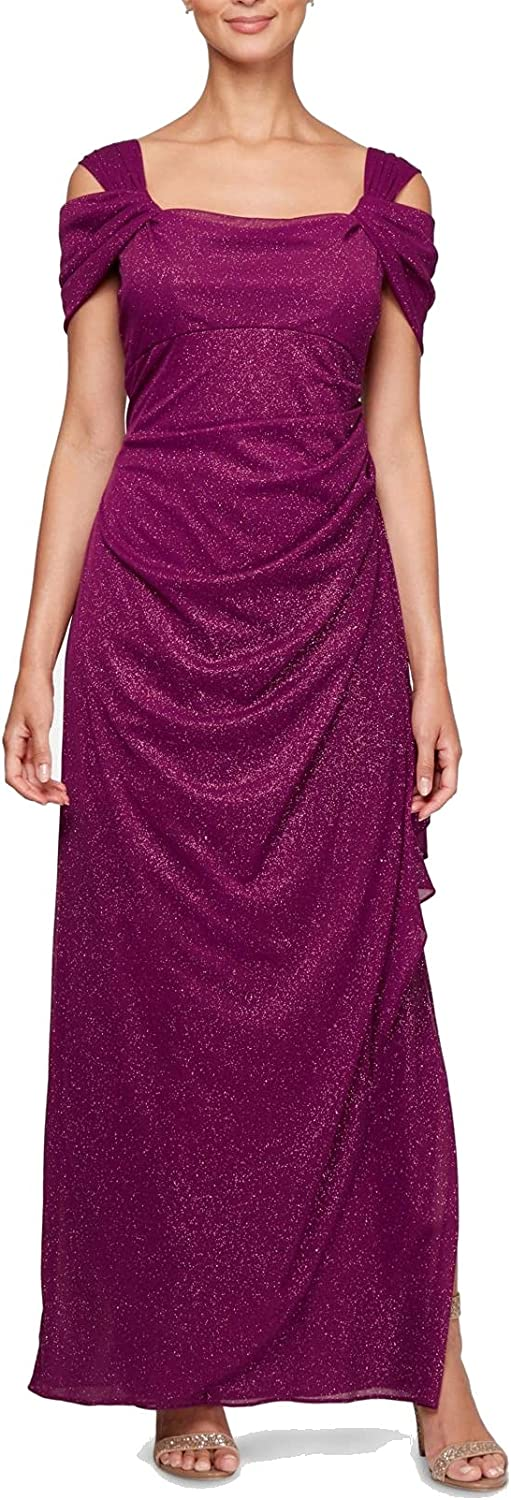 Alex Evenings Women's Excellent Long Cold Dress Petite Shoulder and 2021 spring and summer new Regul