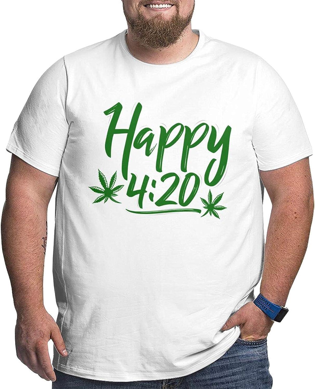 Four 20 Marijuana Men Simple Big Size Summer Outdoor Short Sleeve Round Collar Shirt