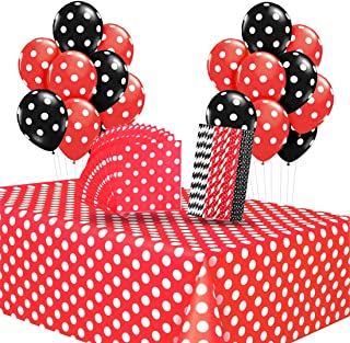 Kreatwow Polka Dot Party Supplies Red Polka Dot Tablecloth Napkins Straws Balloons for Mickey Themed Birthday Baby Shower Ladybug Birthday Party Supplies