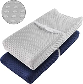 Vextronic Ultra SoftChanging Pad Cover Minky Dots Plush Changing Table Cover,Breathable Changing Table Sheets for Baby Girls Boys,Wipeable,2 Packs (Navy Blue & Grey)