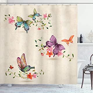 Ambesonne Butterfly Shower Curtain, Butterfly Pattern on Vintage Style Background Wings Moth Transformation, Cloth Fabric Bathroom Decor Set with Hooks, 75