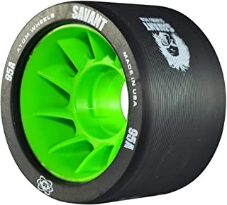 Atom Savant Roller Derby Wheels - Ultra Light For Perfect Speed and Control - New-Available in 88A-97A - With Free Devaskation Bracelet (Black-95A 8 Pack)