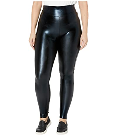 HUE Plus Size Body Gloss Leggings (Black) Women
