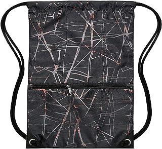HOLYLUCK Men & Women Sport Gym Sack Drawstring Backpack Bag - metallic black