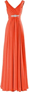CladiyaDress Women V Neck Chiffon Rhinestones Long Bridesmaid Dress Evening Gown D160LF