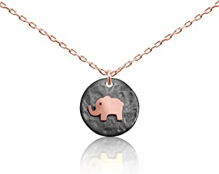 Lucky Elephant Animal Necklace Jewelry for Women and Girls With Adjustable Chain in Rose Gold