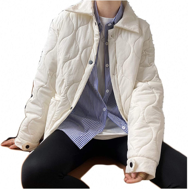 Plaid Parka Jacket Quilted Women Autumn Winter Style Lapel Warm Cotton-Padded Jacket Milk-White L