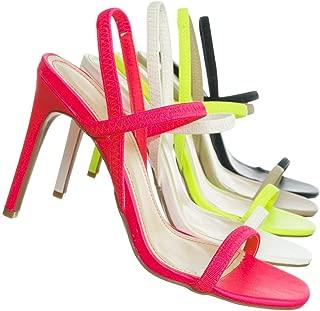 Aquapillar Thin Elastic Strap High Heel Sandal - Women Open Toe Stretchy Shoes