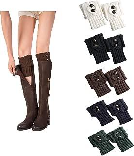 Womens Winter Short Crochet Boot Cuffs Winter Cable Knit Leg Warmers