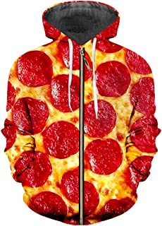 Zipper 3D Hoody Printing Red Pizza Casual Clothes Winter Hoodies Sweatshirts
