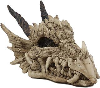 "Ebros Gift Jurassic Beowulf Elder Dragon Head Skull Realistic Fossil Statue 7.75"" Long Miniature Figurine Might and Magic ..."