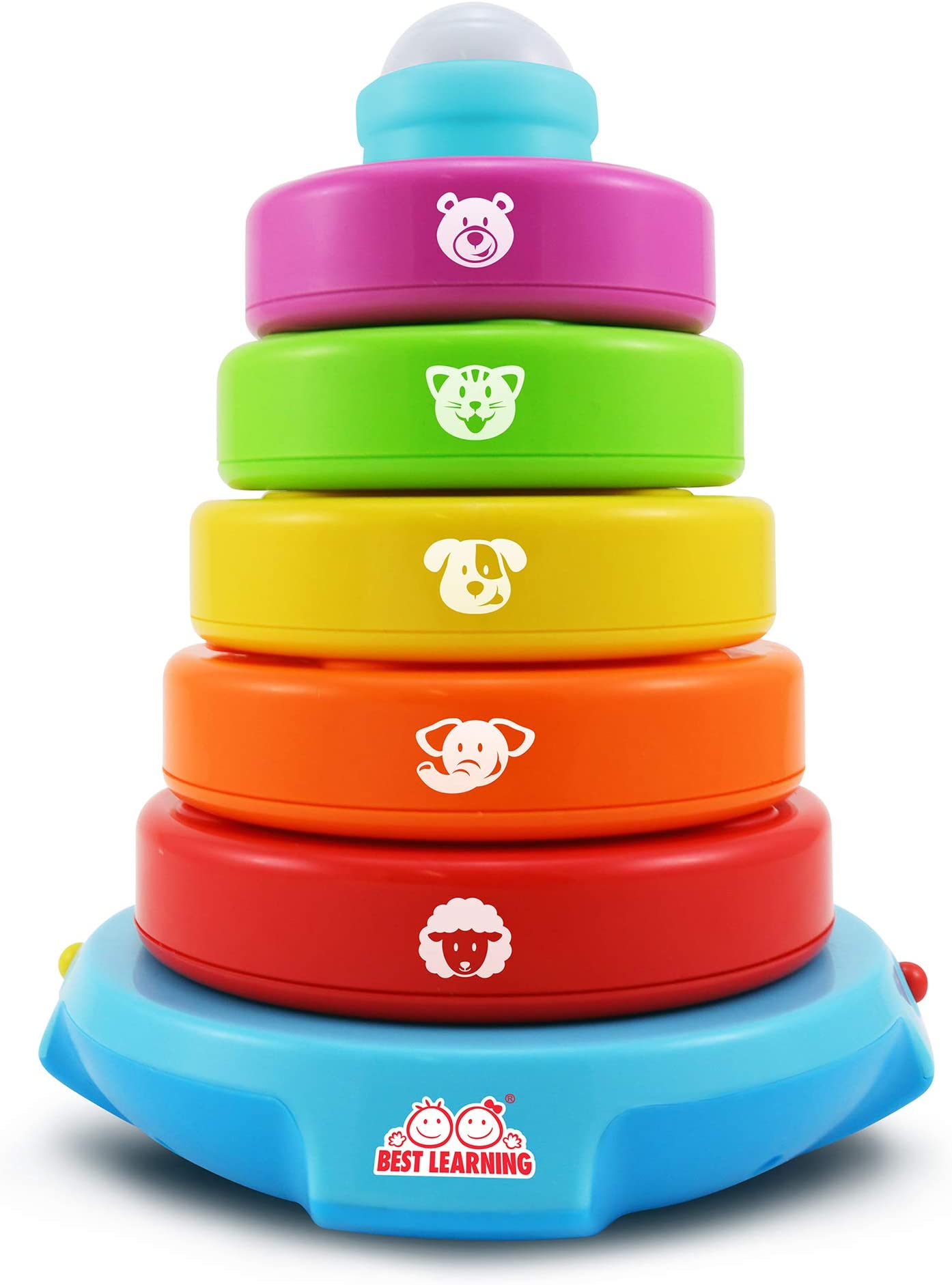 2Pcs Plastic Rainbow Stacking Ring Educational Toy for Kids Children Gift
