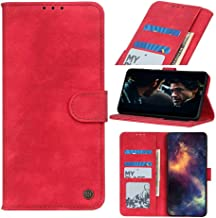Wuzixi Case for LG W30. Anti-Scratch, Flip Case Side suction Kickstand Feature Card Slots Case, PU Leather Folio Cover for LG W30.Red