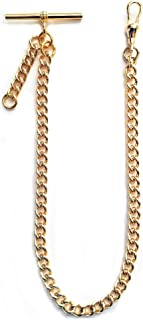 Dueber Yellow Gold Plated Albert Pocket Watch Chain with fob Drop