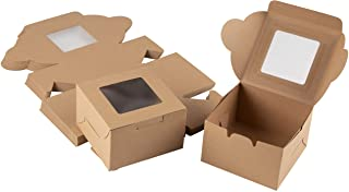Cake Box – 50 Pack Disposable Pastry Box, Kraft Paper Bakery Box with Display Window for Mini Cake, Cupcake, Cookie, Desse...