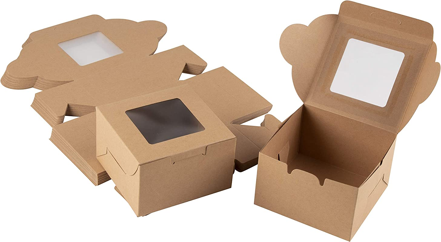 Kraft Paper Bakery Boxes 50 Pack Single Pastry Box 4 Inch Packaging With Clear Display Window Donut Mini Cake Pie Slice Dessert Disposable Take Out Container Holds 1 Brown 4 X 2 3 X 4 Inches
