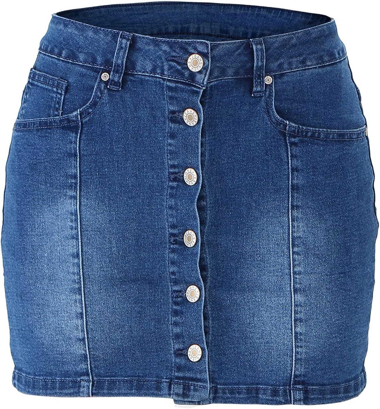 IKIIO Women's Fashion Casual High Waisted Slim Fit Denim Skirt A Line Skirts with Pockets