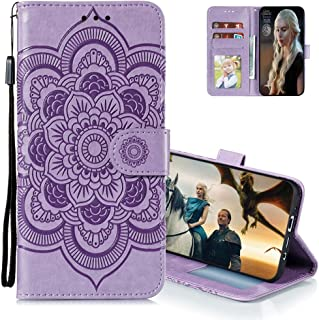 MEIKONST Case for Honor Play 4T Pro, Purple Mandala Embossing Luxury PU Leather Flip Wallet Bookstyle with Stand Card Hold...