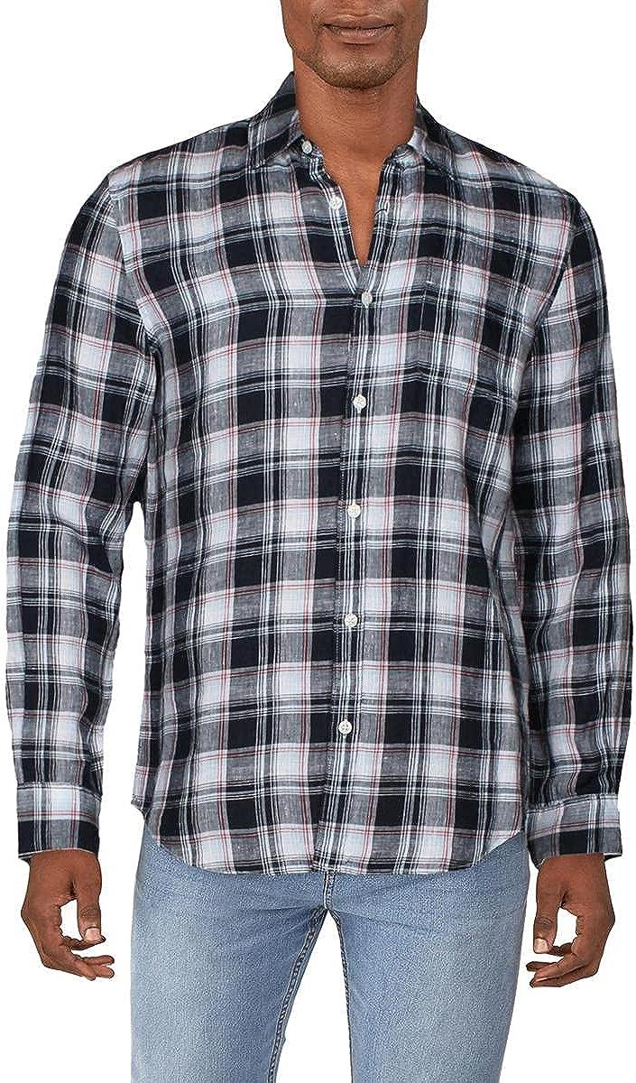 Perry Ellis Men's Untucked Roll Plaid Linen Long Sleeve Button-Down Shirt