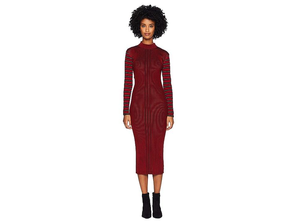 McQ Rib Striped Dress (Red Clay) Women