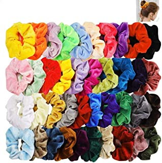 Voarge Gumki do włosów Scrunchies, 45 sztuk dla dziewcząt, gumki do włosów, aksamitne opaski do włosów, elastyczne, koloro...