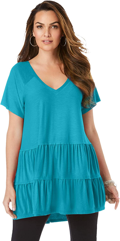 Roamans Women's Plus Size Tiered Slub Ultra Femme Tee Shirt - 14/16, Deep Turquoise Green