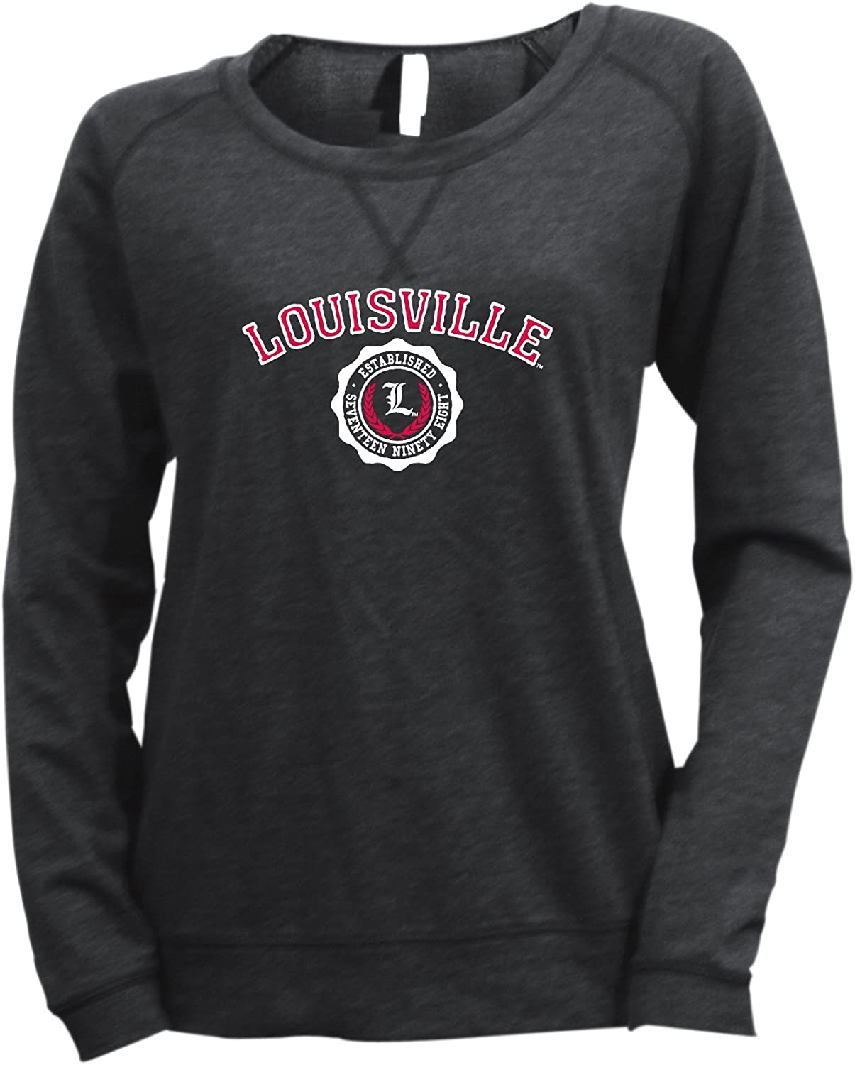 NCAA Max 58% OFF Louisville Cardinals Women's Striped Translated Crew Baby Terry French