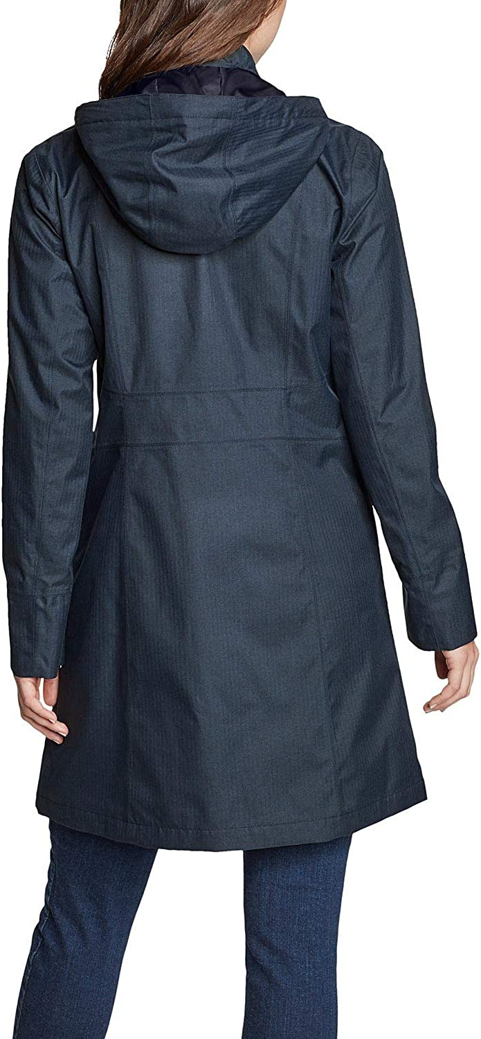 Eddie Bauer Damen Girl on The go Trenchcoat Feminin Trenchcoat Uni Polyester Wasserabweisend Wassersäule 5 000 mm Winddicht 5 000 g/m²/24h Figurumspielend Ohne Tiefes Indigo