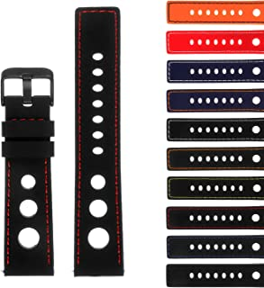StrapsCo Rubber GT Rally Racing Watch Band with Black Buckle - Quick Release Strap - 18mm 20mm 22mm 24mm