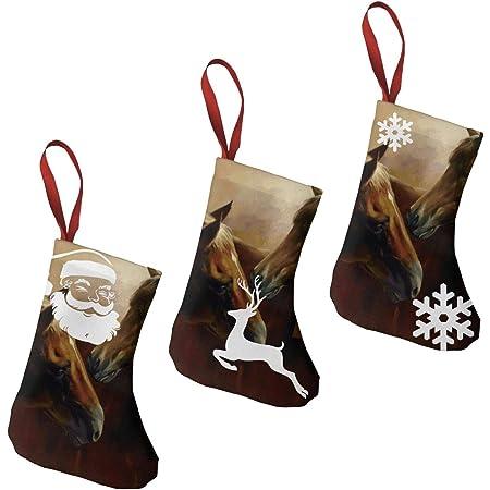 "TGUBJGV Christmas Stockings Horses Oil Painting 1 3 Pcs Set 7.5"" Personalized Santa Stockings Decorations,for Family Holiday Xmas Party"