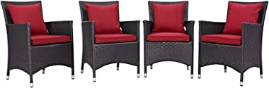 Modern Contemporary Urban Design Outdoor Patio Balcony Four PCS Dining Chairs Set, Red, Rattan