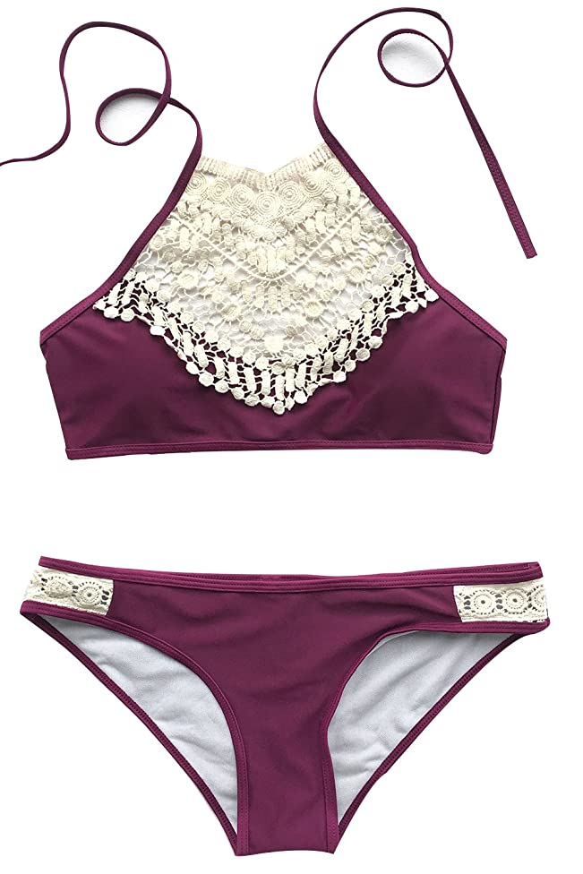CUPSHE Women's Blooming Above Lace Halter Bikini Set Beach Swimwear